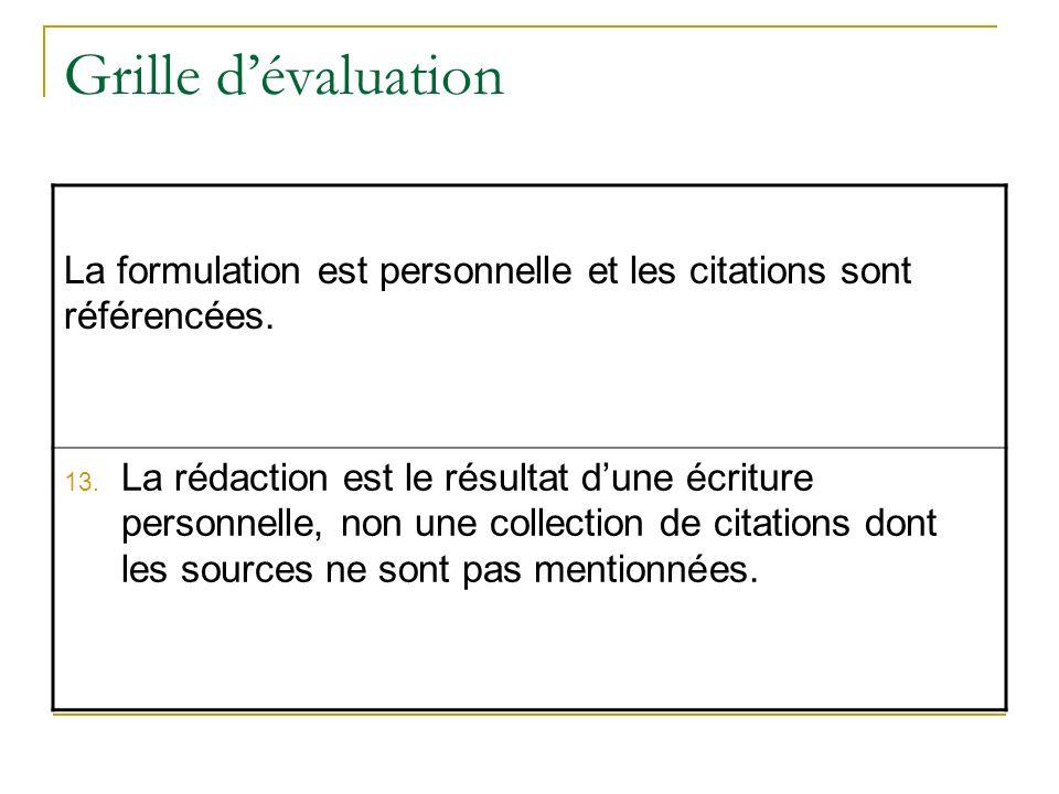 Grille dévaluation La formulation est personnelle et les citations sont référencées. 13. La rédaction est le résultat dune écriture personnelle, non u