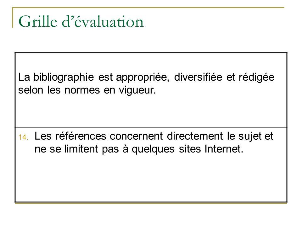 Grille dévaluation La bibliographie est appropriée, diversifiée et rédigée selon les normes en vigueur. 14. Les références concernent directement le s