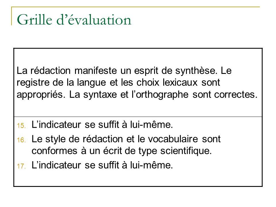 Grille dévaluation La rédaction manifeste un esprit de synthèse. Le registre de la langue et les choix lexicaux sont appropriés. La syntaxe et lorthog