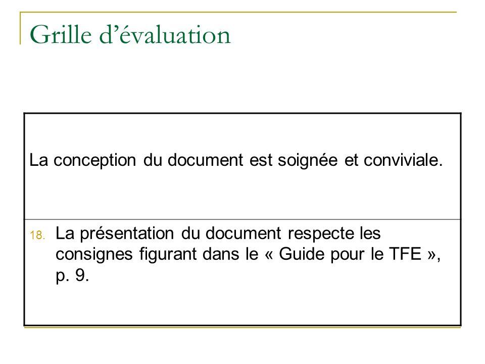 Grille dévaluation La conception du document est soignée et conviviale. 18. La présentation du document respecte les consignes figurant dans le « Guid