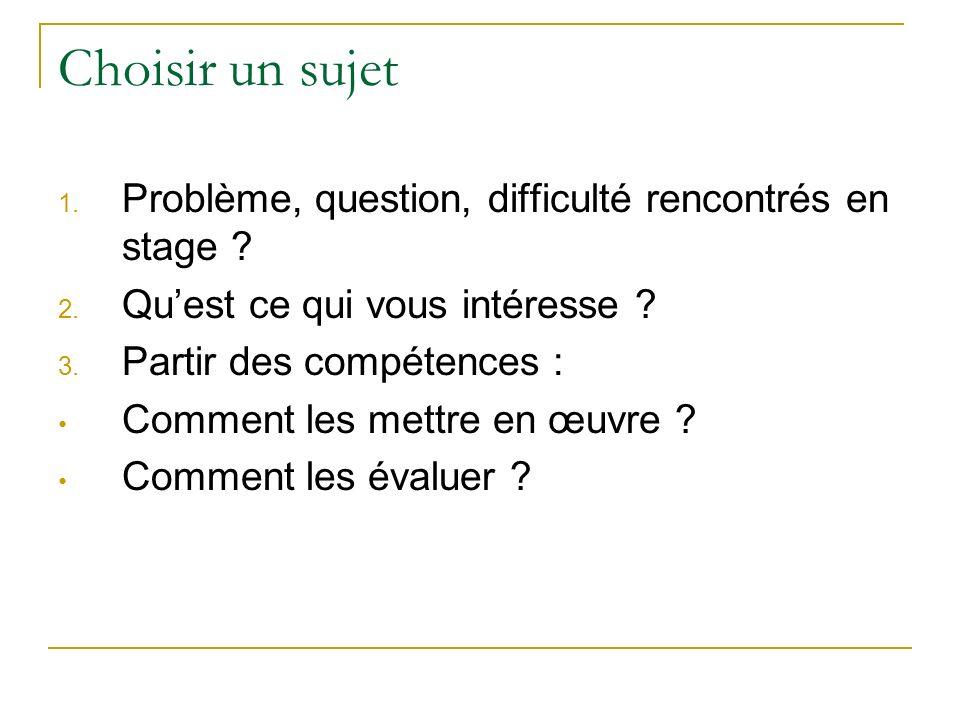 Choisir un sujet 1. Problème, question, difficulté rencontrés en stage ? 2. Quest ce qui vous intéresse ? 3. Partir des compétences : Comment les mett