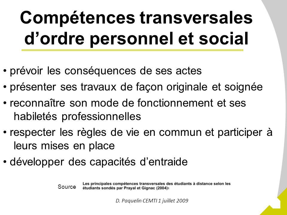 11 Compétences transversales dordre personnel et social prévoir les conséquences de ses actes présenter ses travaux de façon originale et soignée reco