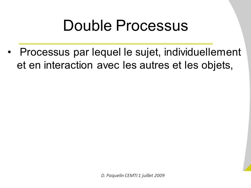 15 Processus par lequel le sujet, individuellement et en interaction avec les autres et les objets, 1.sollicite et mobilise tout ou partie des règles