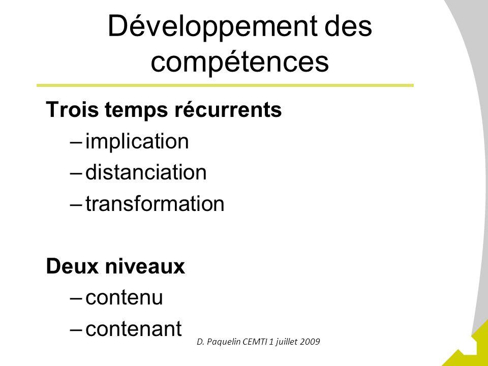 18 Développement des compétences Trois temps récurrents –implication –distanciation –transformation Deux niveaux –contenu –contenant D. Paquelin CEMTI