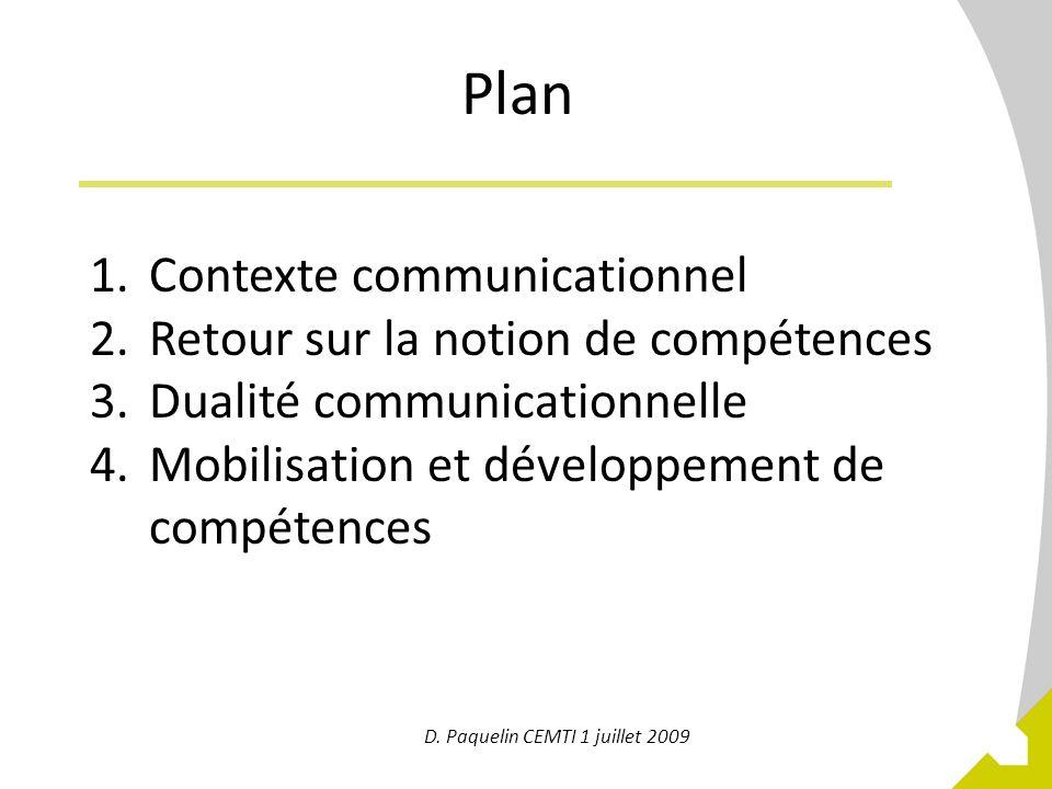 2 Plan 1.Contexte communicationnel 2.Retour sur la notion de compétences 3.Dualité communicationnelle 4.Mobilisation et développement de compétences D