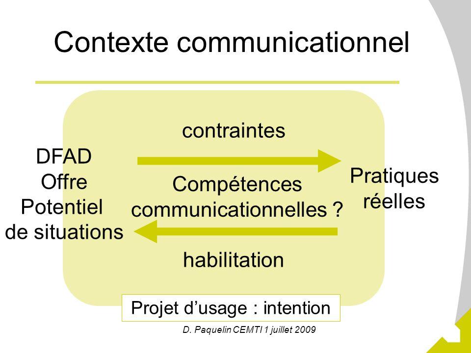 3 Projet dusage : intention D. Paquelin CEMTI 1 juillet 2009 Contexte communicationnel DFAD Offre Potentiel de situations Pratiques réelles Compétence