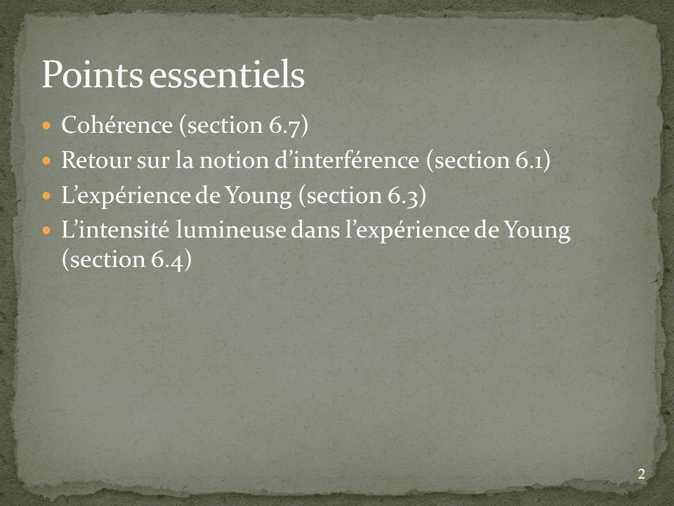 2 Cohérence (section 6.7) Retour sur la notion dinterférence (section 6.1) Lexpérience de Young (section 6.3) Lintensité lumineuse dans lexpérience de Young (section 6.4)
