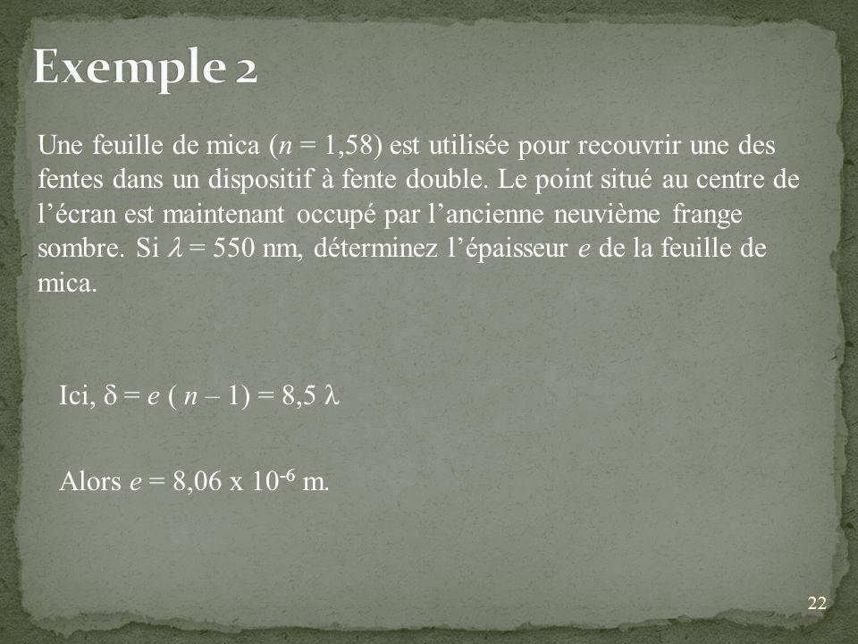 22 Une feuille de mica (n = 1,58) est utilisée pour recouvrir une des fentes dans un dispositif à fente double.
