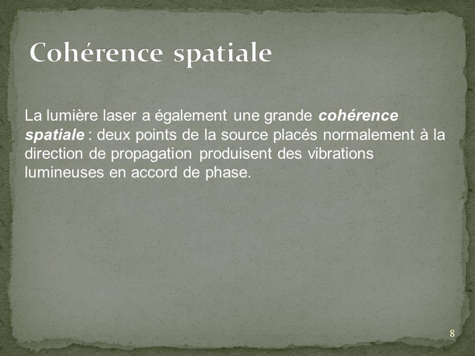 8 La lumière laser a également une grande cohérence spatiale : deux points de la source placés normalement à la direction de propagation produisent des vibrations lumineuses en accord de phase.