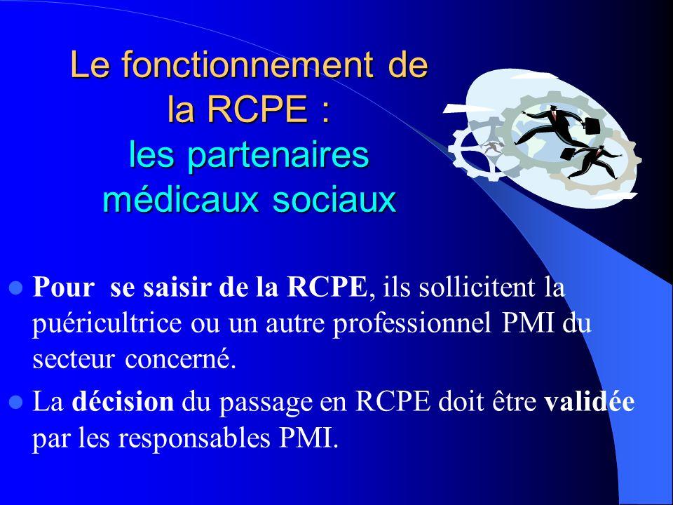 Le fonctionnement de la RCPE : les partenaires médicaux sociaux Pour se saisir de la RCPE, ils sollicitent la puéricultrice ou un autre professionnel