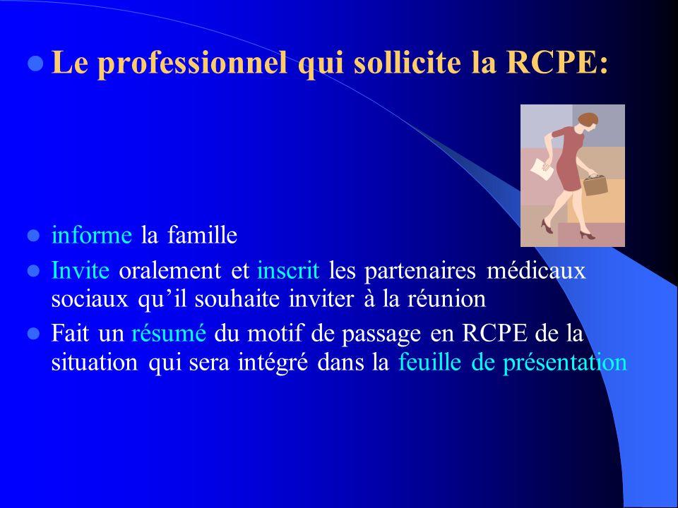 Le professionnel qui sollicite la RCPE: informe la famille Invite oralement et inscrit les partenaires médicaux sociaux quil souhaite inviter à la réu