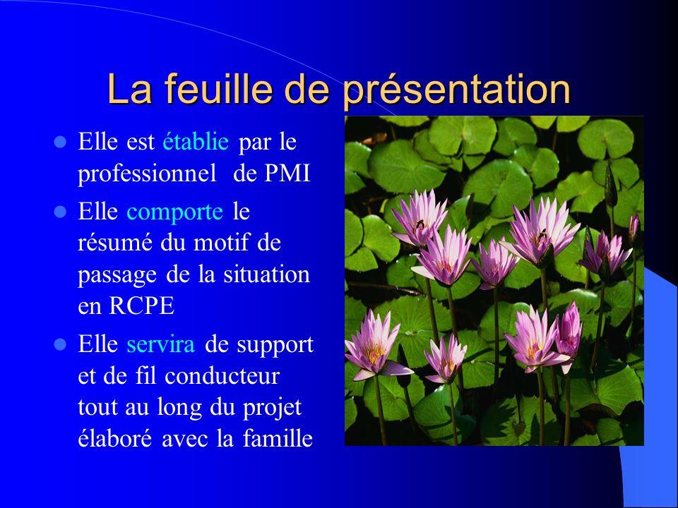 La feuille de présentation Elle est établie par le professionnel de PMI Elle comporte le résumé du motif de passage de la situation en RCPE Elle servi