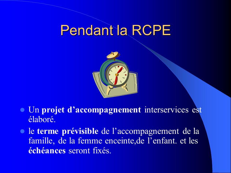 Pendant la RCPE Un projet daccompagnement interservices est élaboré. le terme prévisible de laccompagnement de la famille, de la femme enceinte,de len