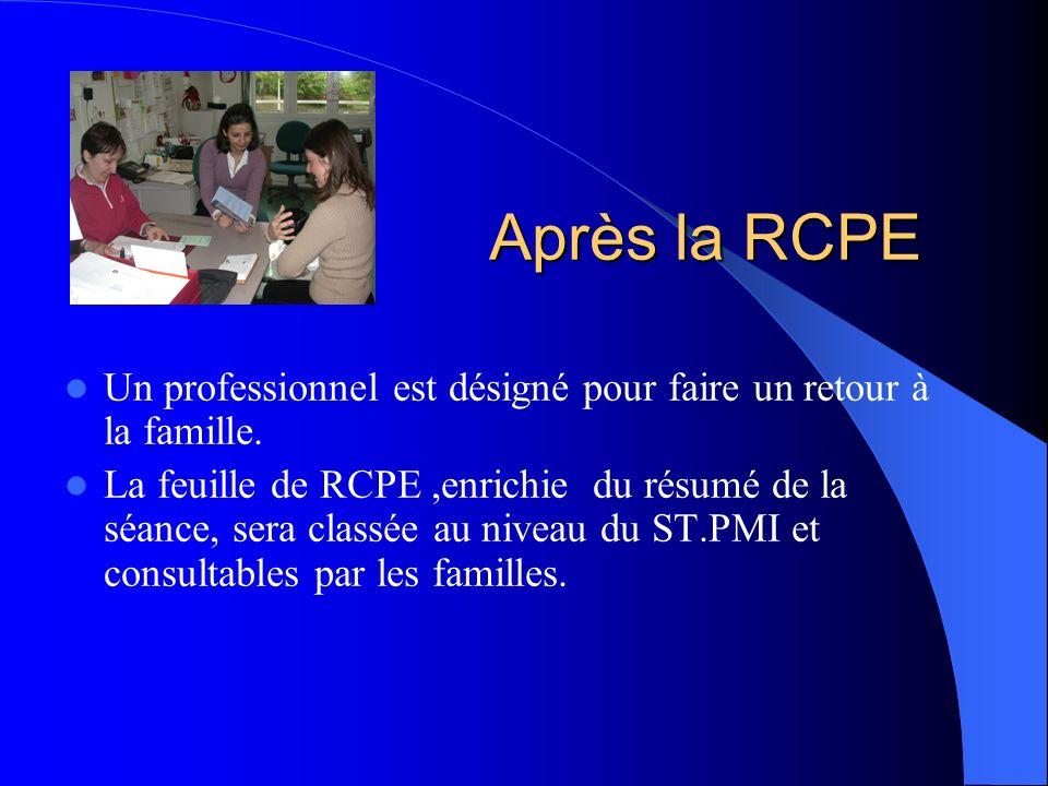 Après la RCPE Un professionnel est désigné pour faire un retour à la famille. La feuille de RCPE,enrichie du résumé de la séance, sera classée au nive