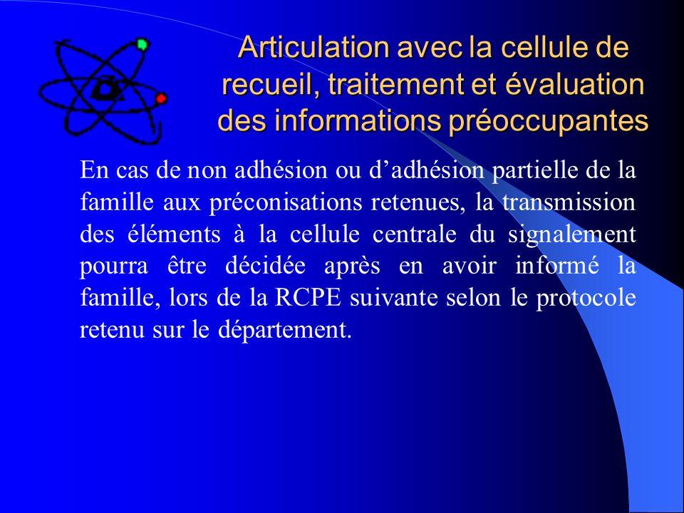 Articulation avec la cellule de recueil, traitement et évaluation des informations préoccupantes En cas de non adhésion ou dadhésion partielle de la f