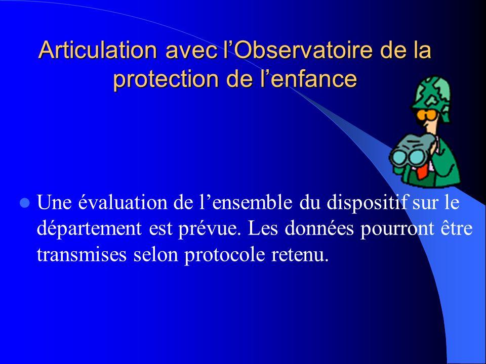 Articulation avec lObservatoire de la protection de lenfance Une évaluation de lensemble du dispositif sur le département est prévue. Les données pour