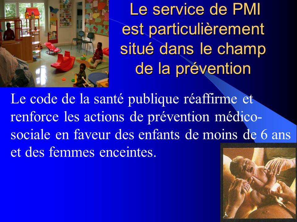 Le service de PMI est particulièrement situé dans le champ de la prévention Le service de PMI est particulièrement situé dans le champ de la préventio