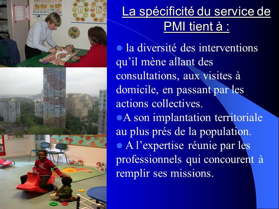 La spécificité du service de PMI tient à : la diversité des interventions quil mène allant des consultations, aux visites à domicile, en passant par l