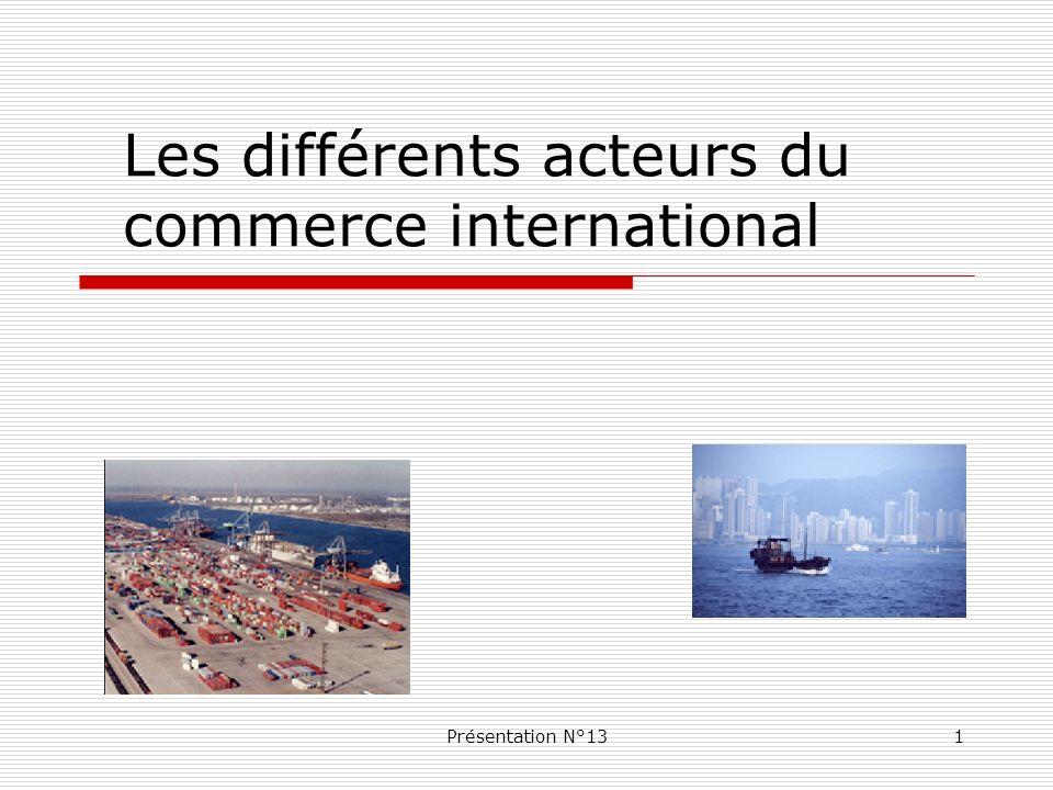 Présentation N°132 Les Institutions internationales Les blocs é conomiques Le dispositif fran ç ais Les différents acteurs du commerce international