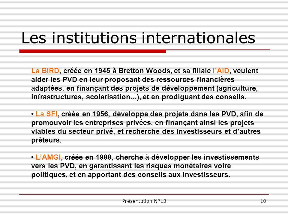 Présentation N°1310 Les institutions internationales La BIRD, créée en 1945 à Bretton Woods, et sa filiale lAID, veulent aider les PVD en leur proposa