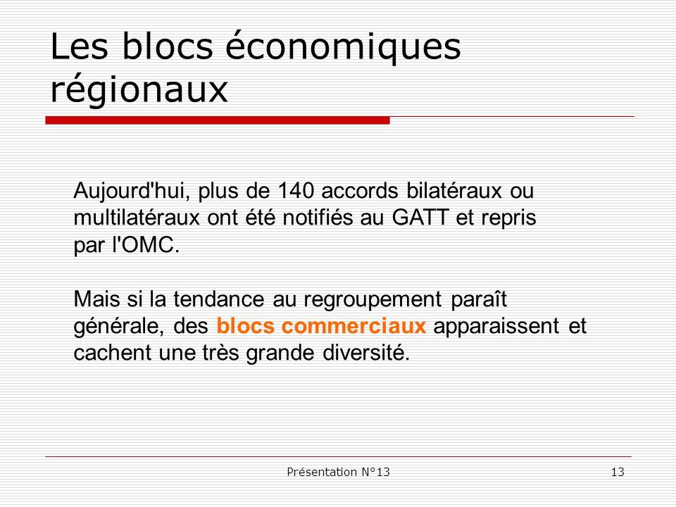 Présentation N°1313 Les blocs économiques régionaux Aujourd'hui, plus de 140 accords bilatéraux ou multilatéraux ont été notifiés au GATT et repris pa