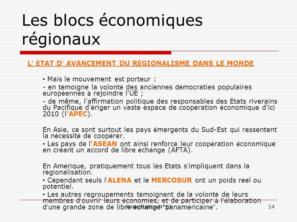 Présentation N°1314 Les blocs économiques régionaux L É TAT D AVANCEMENT DU R É GIONALISME DANS LE MONDE Mais le mouvement est porteur : - en t é moig