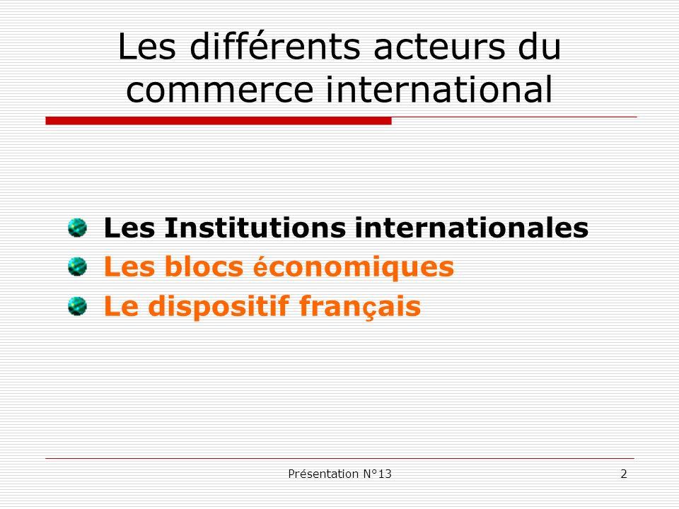 Présentation N°1313 Les blocs économiques régionaux Aujourd hui, plus de 140 accords bilatéraux ou multilatéraux ont été notifiés au GATT et repris par l OMC.