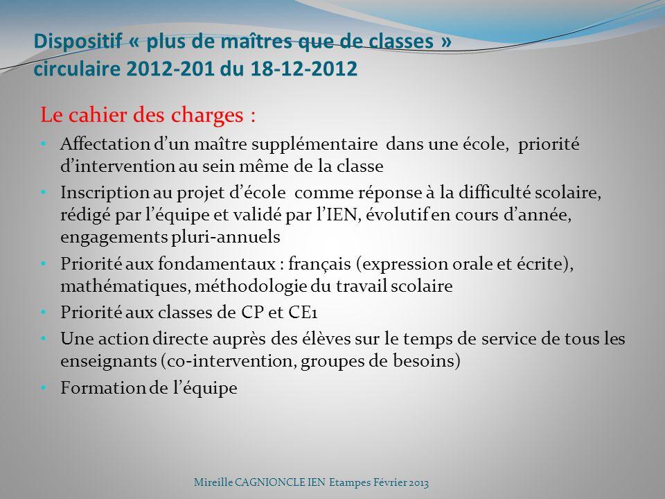 Dispositif « plus de maîtres que de classes » circulaire 2012-201 du 18-12-2012 Le cahier des charges : Affectation dun maître supplémentaire dans une