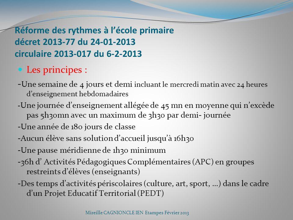 Réforme des rythmes à lécole primaire décret 2013-77 du 24-01-2013 circulaire 2013-017 du 6-2-2013 Les principes : - Une semaine de 4 jours et demi in