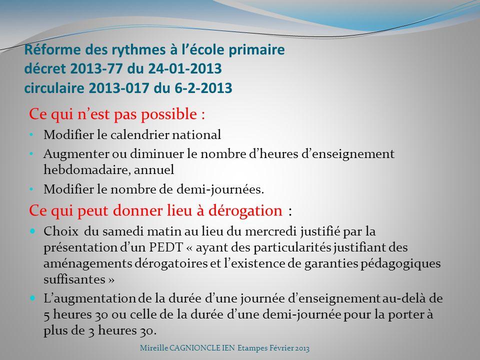 Réforme des rythmes à lécole primaire décret 2013-77 du 24-01-2013 circulaire 2013-017 du 6-2-2013 Ce qui nest pas possible : Modifier le calendrier n