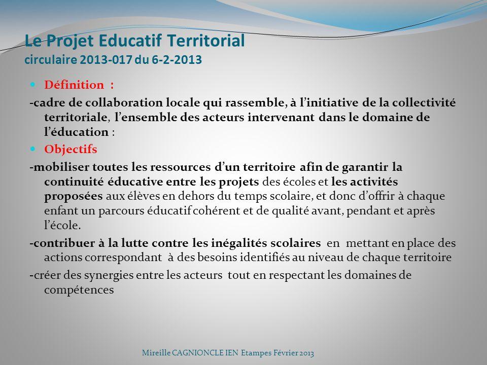 Le Projet Educatif Territorial circulaire 2013-017 du 6-2-2013 Définition : -cadre de collaboration locale qui rassemble, à linitiative de la collecti