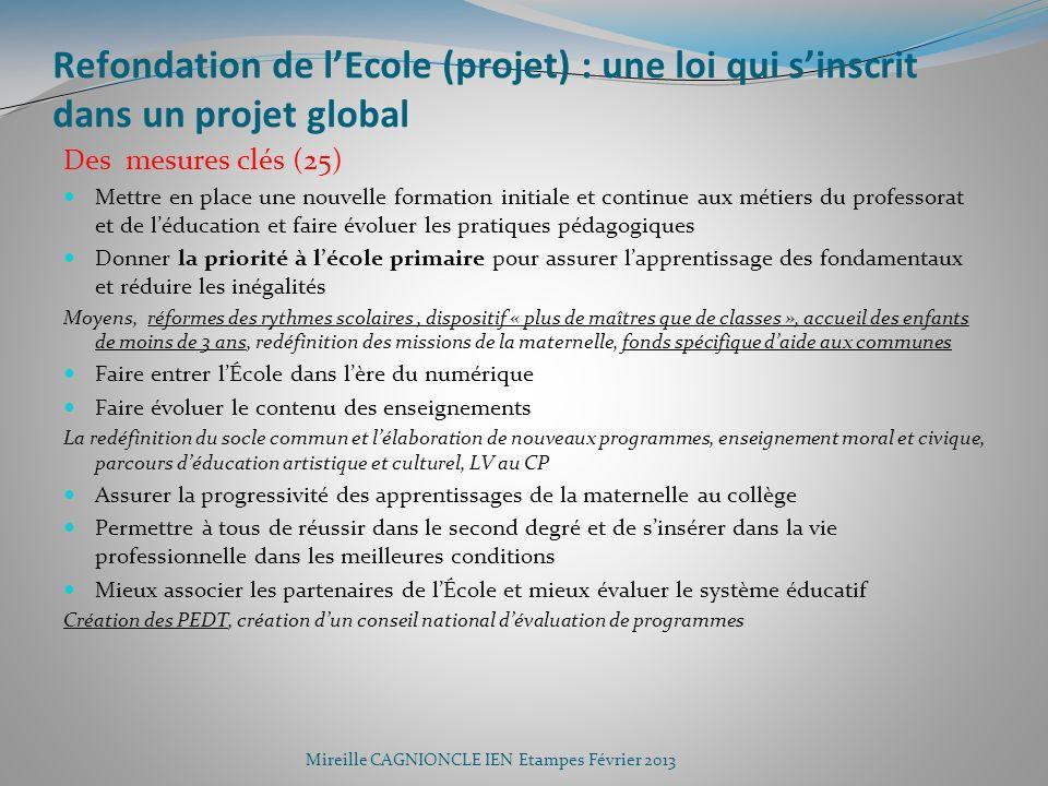 Refondation de lEcole (projet) : une loi qui sinscrit dans un projet global Des mesures clés (25) Mettre en place une nouvelle formation initiale et c