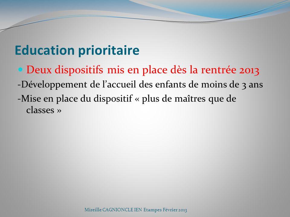 Education prioritaire Deux dispositifs mis en place dès la rentrée 2013 -Développement de laccueil des enfants de moins de 3 ans -Mise en place du dis