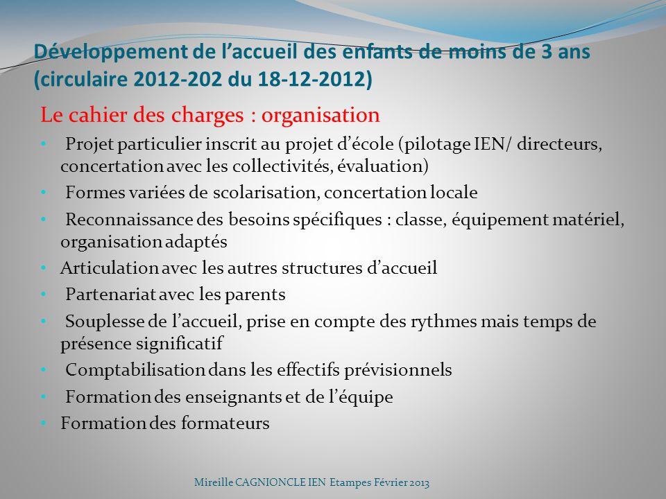 Développement de laccueil des enfants de moins de 3 ans (circulaire 2012-202 du 18-12-2012) Le cahier des charges : organisation Projet particulier in