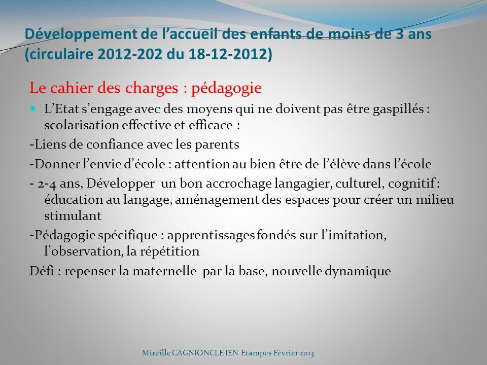 Développement de laccueil des enfants de moins de 3 ans (circulaire 2012-202 du 18-12-2012) Le cahier des charges : pédagogie LEtat sengage avec des m
