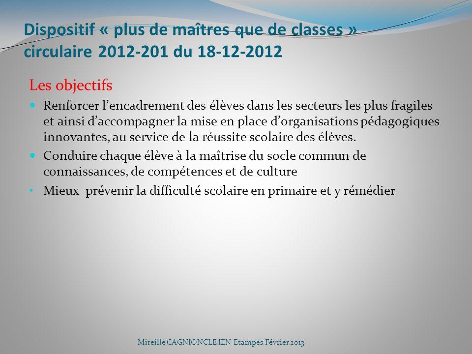 Dispositif « plus de maîtres que de classes » circulaire 2012-201 du 18-12-2012 Les objectifs Renforcer lencadrement des élèves dans les secteurs les