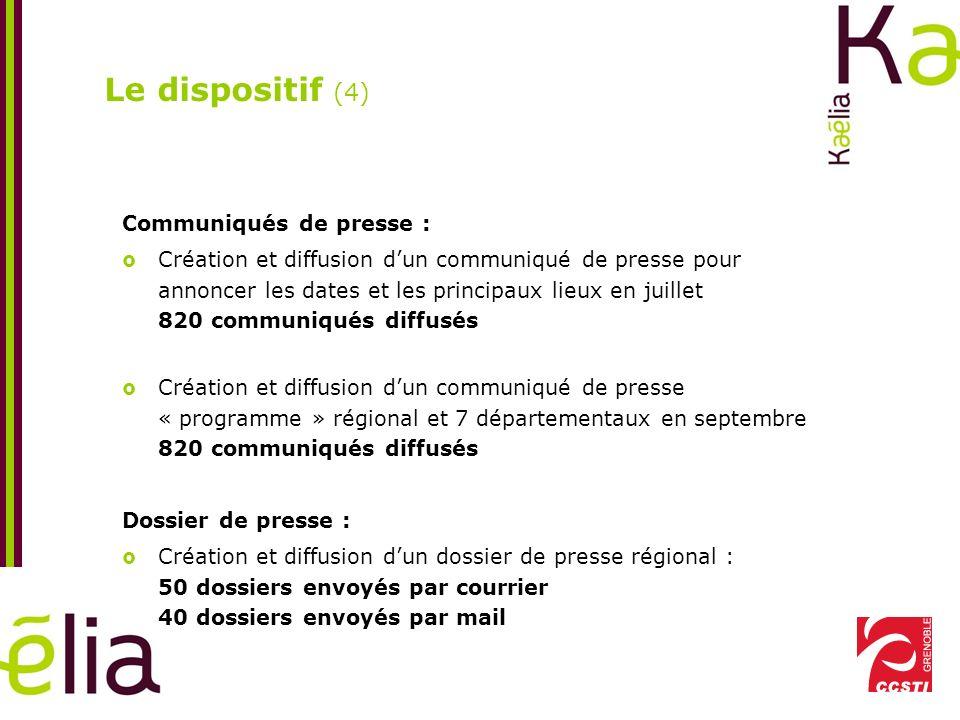 Le dispositif (5) Relances téléphoniques : Relance systématique : - De toutes les télévisions ayant une antenne régionale - De toutes les radios régionales et nationales avec correspondant local - De tous les journaux des mairies concernées du Rhône - De tous les journaux régionaux et nationaux avec correspondant local - De toutes les agences de presse