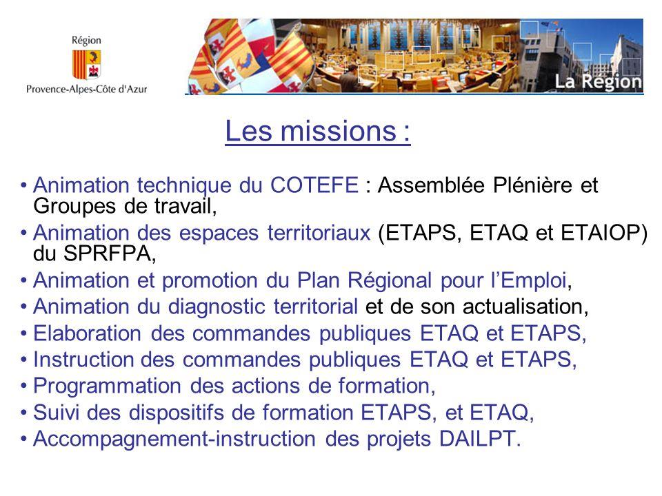 Animation technique du COTEFE : Assemblée Plénière et Groupes de travail, Animation des espaces territoriaux (ETAPS, ETAQ et ETAIOP) du SPRFPA, Animat