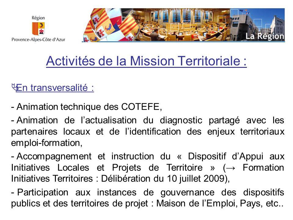 Activités de la Mission Territoriale : En transversalité : - Animation technique des COTEFE, - Animation de lactualisation du diagnostic partagé avec