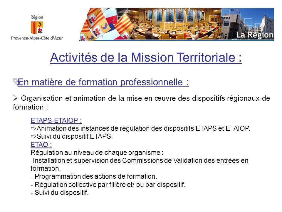 Activités de la Mission Territoriale : En matière de formation professionnelle : Organisation et animation de la mise en œuvre des dispositifs régiona