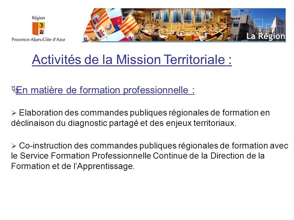 En matière demploi et de sécurisation des parcours professionnels : Promotion et animation du Plan Régional pour lEmploi.