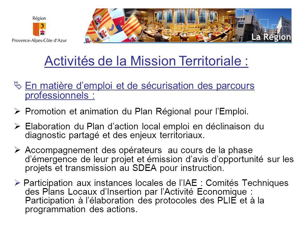 En matière demploi et de sécurisation des parcours professionnels : Promotion et animation du Plan Régional pour lEmploi. Elaboration du Plan daction