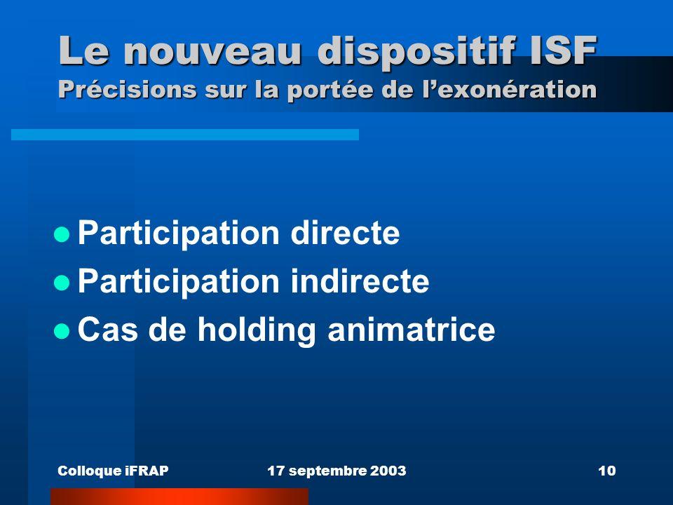 Colloque iFRAP17 septembre 200310 Le nouveau dispositif ISF Précisions sur la portée de lexonération Participation directe Participation indirecte Cas de holding animatrice
