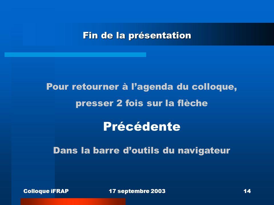 Colloque iFRAP17 septembre 200314 Fin de la présentation Pour retourner à lagenda du colloque, presser 2 fois sur la flèche Précédente Dans la barre doutils du navigateur