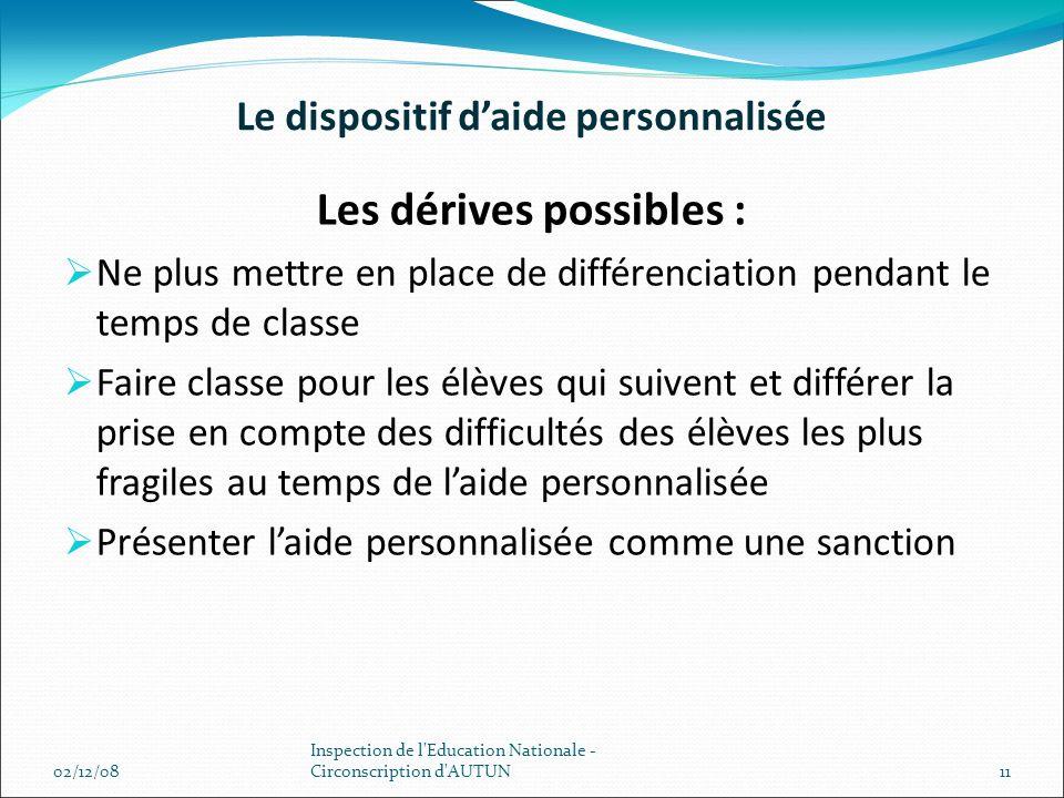Le dispositif daide personnalisée Les dérives possibles : Ne plus mettre en place de différenciation pendant le temps de classe Faire classe pour les