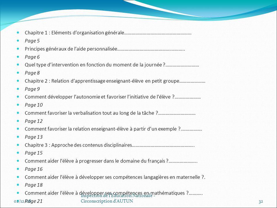Chapitre 1 : Eléments dorganisation générale……………………………………………… Page 5 Principes généraux de laide personnalisée…………………………………….……….. Page 6 Quel type d