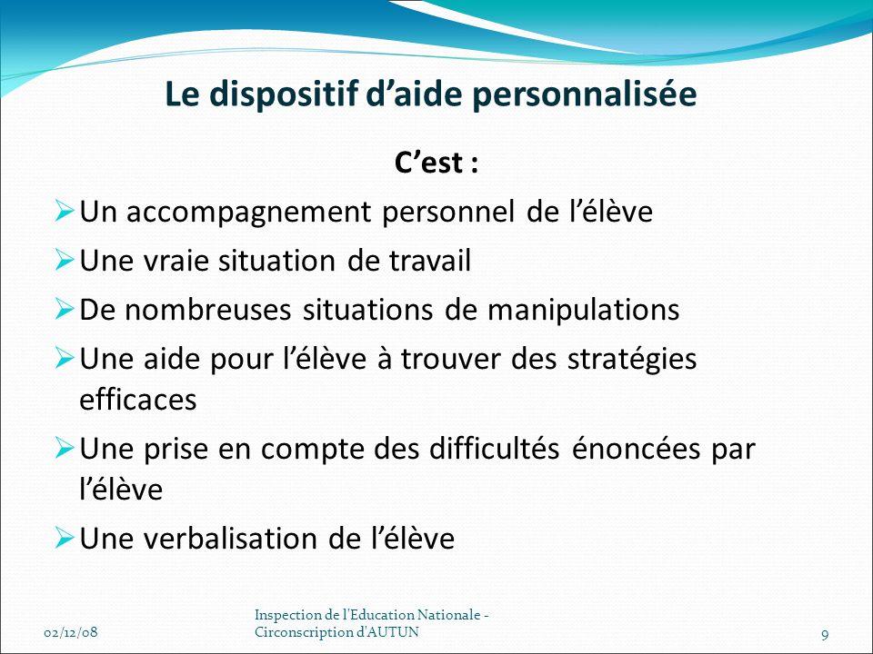 Le dispositif daide personnalisée Cest : Un accompagnement personnel de lélève Une vraie situation de travail De nombreuses situations de manipulation