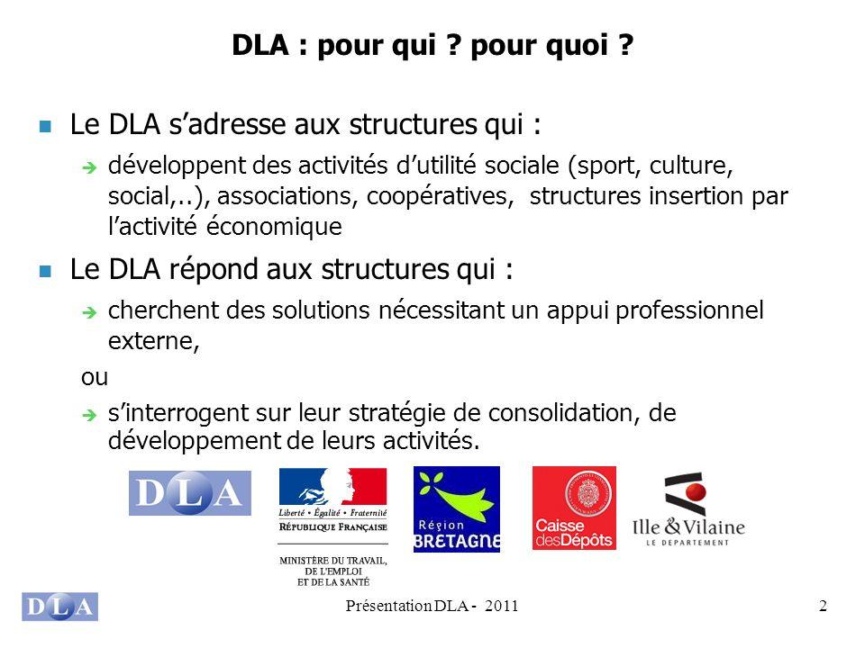 Présentation DLA - 20112 DLA : pour qui ? pour quoi ? Le DLA sadresse aux structures qui : développent des activités dutilité sociale (sport, culture,