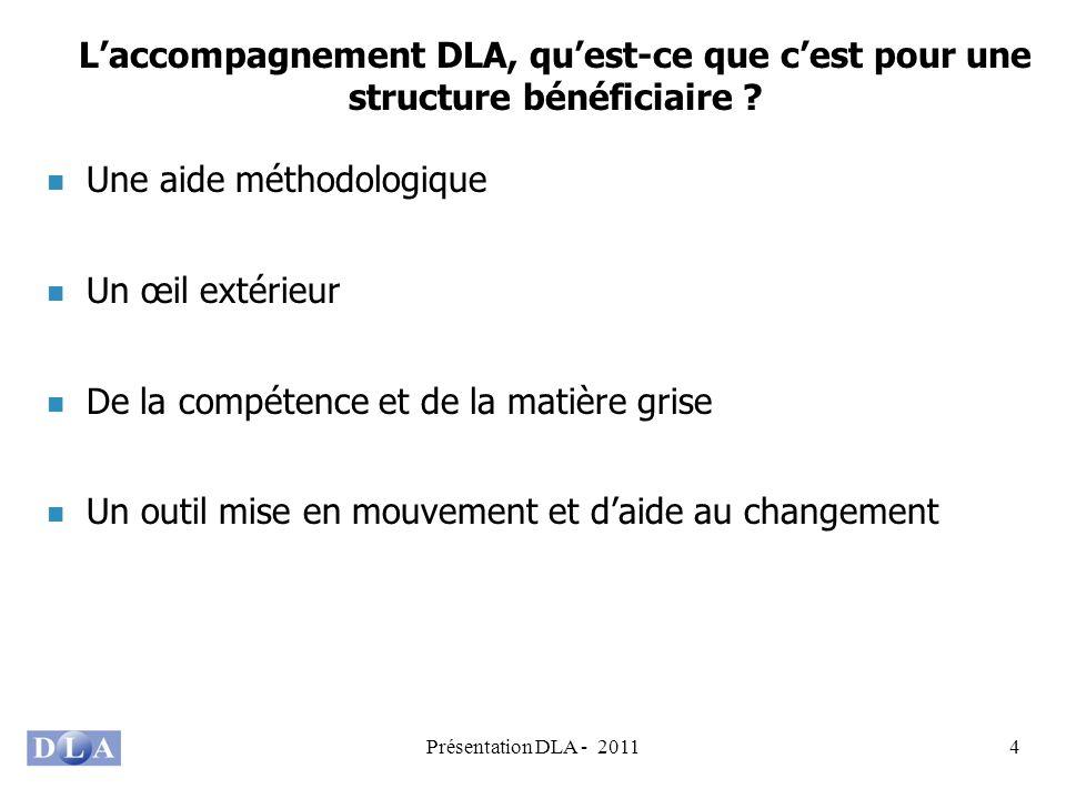Présentation DLA - 20114 Laccompagnement DLA, quest-ce que cest pour une structure bénéficiaire ? Une aide méthodologique Un œil extérieur De la compé