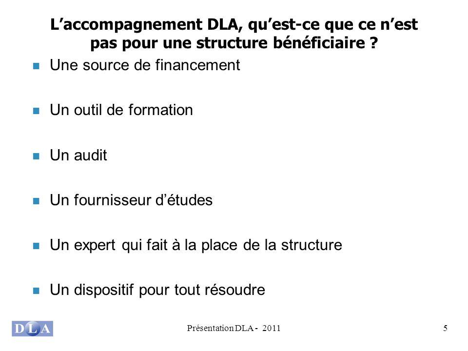Présentation DLA - 20115 Laccompagnement DLA, quest-ce que ce nest pas pour une structure bénéficiaire ? Une source de financement Un outil de formati